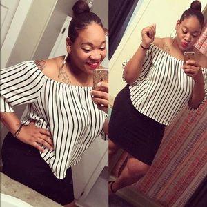 Dresses & Skirts - Crop off the shoulder top and black skirt